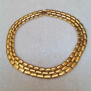 Chunky Gold Tone Choker Necklace